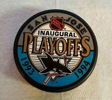 SAN JOSE SHARKS NHL 1993/1994 INAUGURAL PLAYOFFS HOCKEY PUCK SHIPS IN 1 DAY