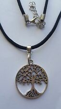 "TREE OF LIFE  TIBETAN SILVER PENDANT  ON BLACK 3MM VELVET CORD  18"" NECKLACE."