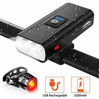 Rechargeable Bike Lights Set 5200mAh USB Floodlight & Spotlight Waterproof IPX5