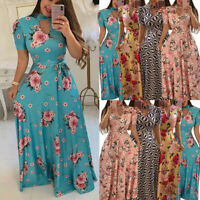 Women Floral Dress Ladies Summer Evening Holiday Party Long Tunic Sundress S-5XL