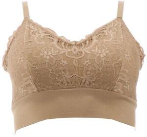 Rhonda Shear 2Pc Lace Leisure Bra Removable Pads Black Nude L NEW 715-472