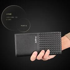 Men's Long Pattern Wallet Clip Buainess New Style Knurling Woven Pattern Leather
