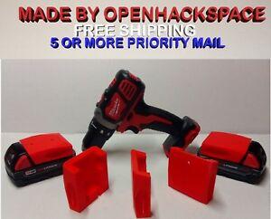 2 Pack Milwaukee 18v M18 Battery Mount Bracket Holder - Dust Cover / Made in USA