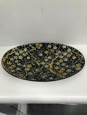 Fabric Japan Asian Serving Plate Platter With Flowers Black Gold Silver
