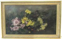 ANTIQUE 19C  AMERICAN STILL LIFE OF  FLOWERS OIL PAINTING