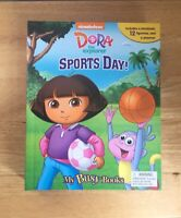 Dora The Explorer Sports Day! My Busy Book Storybook, Figurines, And Playmat