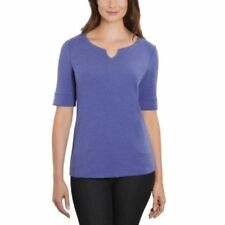 NEW Ellen Tracy Ladies' Elbow Sleeve Top Shirt Dazzling Blue Heather Size Small