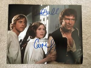 Genuine Hand Signed Star Wars Picture By Mark Hamill, Carrie Fisher & Ford