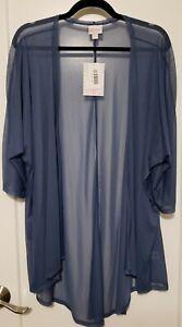 LULAROE LINDSAY Cardigan/Kimono Sheer Blue - Medium - NWT