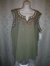 Sleeveless Embroidered Blouses Sonoma size plus 3X,2X,1X,Pink & Olive 100% cotto