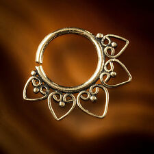 Brass septum for pierced nose real gold colour septum MANDALA 1mm (18g)(code 15)