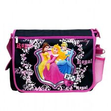 Disney Kids Girls Black Princess Shield Messenger Bag/Book Bag w Water Bottle