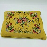 Vintage Victorian Style Floral Flower Needlepoint Pillow 15 x 11