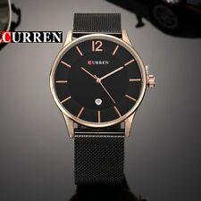 Gents Luxury Curren Thin Black Gold Date Black Stainless Steel Bracelet Watch C6