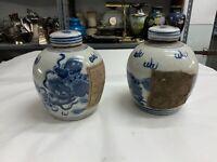 Coppia di vecchie Potiches Cinesi in Ceramica Bianca e Blu