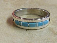 Native American Navajo Men's Wedding Ring Band Turquoise Muskett Sz 10 3/4