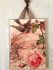 Vintage Bird With Pink Rose Postcard Glitter Plaque NEW