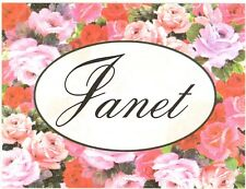 Set of 8 Blank Note Cards & Envelopes ~ A Note From Janet ~ Flowers ~ Roses ~