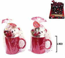 2 TEDDY BEAR IN RED COFFEE CUP GI209 wholesale gifts bulk bears novelty gift new