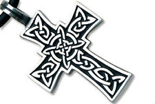 Tribal Celtic Cross Pendant - Top Quality Pewter Pendant with PVC Rope chain inc