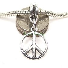 Peace Symbol Sign Dangle Add a Bead Large Hole Slider ft European Charm Bracelet
