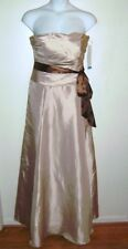 Bill Levkoff 880 Camel & Chocolate Sleeveless Full-Length Dress Gown Sz 16 NWT