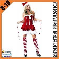 New Womens Red & White Christmas Xmas Fancy Dress Santa Ladies Costume Size 8-10