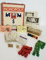 Vintage 1936 Parker Brothers Monopoly Money Houses Property Wooden Dice