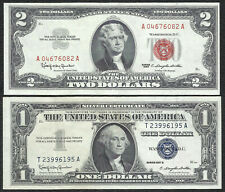 1963 $2 RED! 1957B $1 **SILVER** 2 Notes! CRISP XF! Old US Paper Money Currency