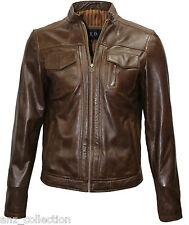 Timber Men's Mud Brown Biker Motorcycle Style Soft Genuine Leather Jacket