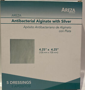 "Areza Medical Antibacterial Alginate with Silver 4.25"" x 4.25"" 5-Pack Sterile"