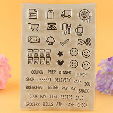 Transparent DIY Album Craft Silicone Rubber Stamp Scrapbooking Card Food Words
