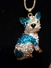 Betsey johnson Blue n Silver Crystal necklace