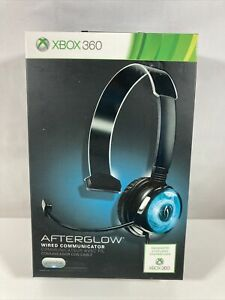 XBOX 360 PDP Afterglow Wired Headphone Headset Mic Gaming Communicator Blue New!