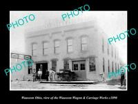 OLD LARGE HISTORIC PHOTO OF WAUSEON OHIO, THE WAGON & CARRIAGE WORKS c1890