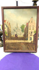 Art Oil on canvas from Europe during WWII Original Europe painting before WW II
