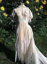 Vintage Antique 1930's Sheer & Lace GORGEOUS WEDDING GOWN DRESS 36-30-66