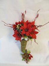 Vintage Red Gold Green Glitter Poinsettia silk flower Bridal Bouquet Boutonniere