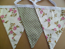 40ft/ 12M Vintage Style Cream Rose and Green Spot Double Bunting