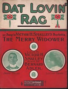 Dat Lovin Rag 1907 The Merry Widower Jerry Mills Large Format Sheet Music