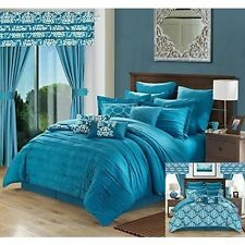 Queen Comforter Sheets Curtain Pillow Set Bed In A Bag 24 Piece Teal White Set