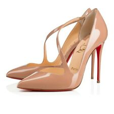 Christian Louboutin Jumping Asymmetric Nude Patent Pointed Toe Pumps Shoes 41
