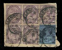 GB QV 1893 LONDON-E.C. hooded circle D.S. (Time X Code C) on 5x1d SG172/3 +SG201