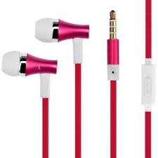 RED EARBUDS HANDS-FREE EARPHONES W MIC METAL HEADPHONES for SMARTPHONE & TABLETS