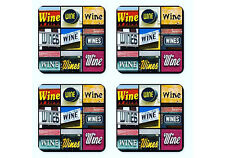 Personalized Coasters featuring the word WINE in sign photos - Set of 4