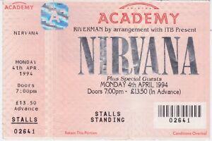 Nirvana - Brixton Academy 4th April 1994 - Very rare genuine unused ticket 02641