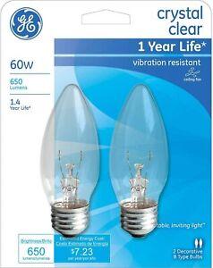 2- GE 60 Watt Medium Base Ceiling Fan Clear Decorative Blunt tip Light Bulbs