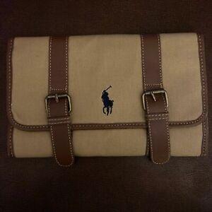 NEW Polo Ralph Lauren Tan Canvas Travel Toiletry Bag Dopp Kit