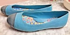 SoftWalk Blue 2 Tone Leather Ballet Flats 7