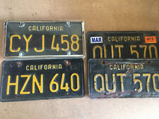 AWESOME California Black License Plate Plates Singles Pairs 1963